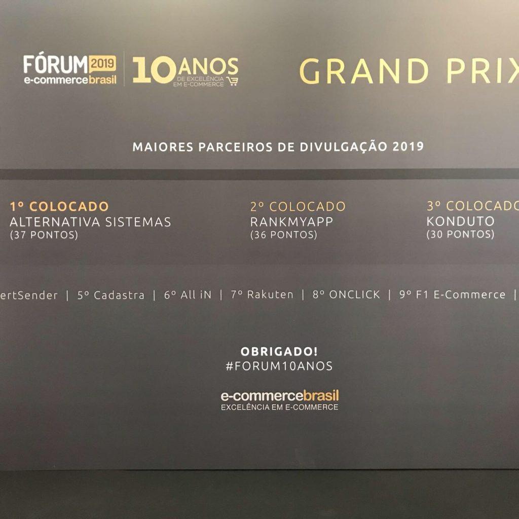 Alternativa Sistemas ganha em primeiro lugar no 1 Grand Prix de Expositores do E-commerce Brasil - Forum E-commerce Brasil 2019